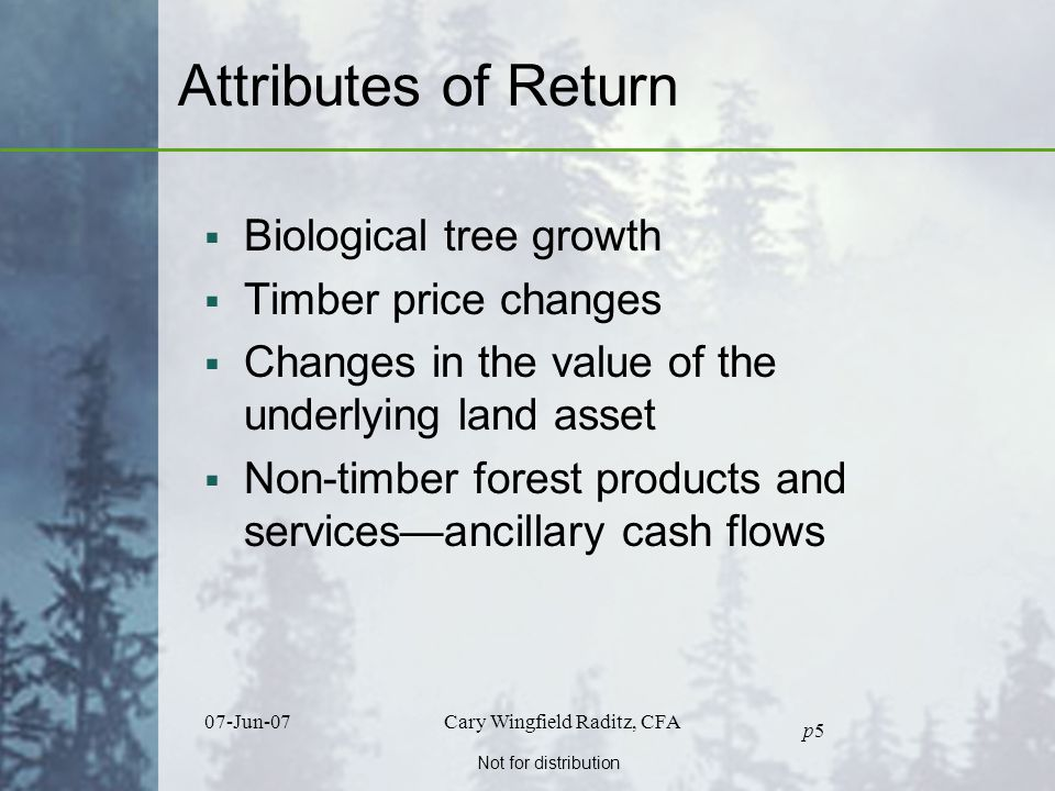 Not for distribution 07-Jun-07Cary Wingfield Raditz, CFA p5p5 Attributes of Return  Biological tree growth  Timber price changes  Changes in the value of the underlying land asset  Non-timber forest products and services—ancillary cash flows