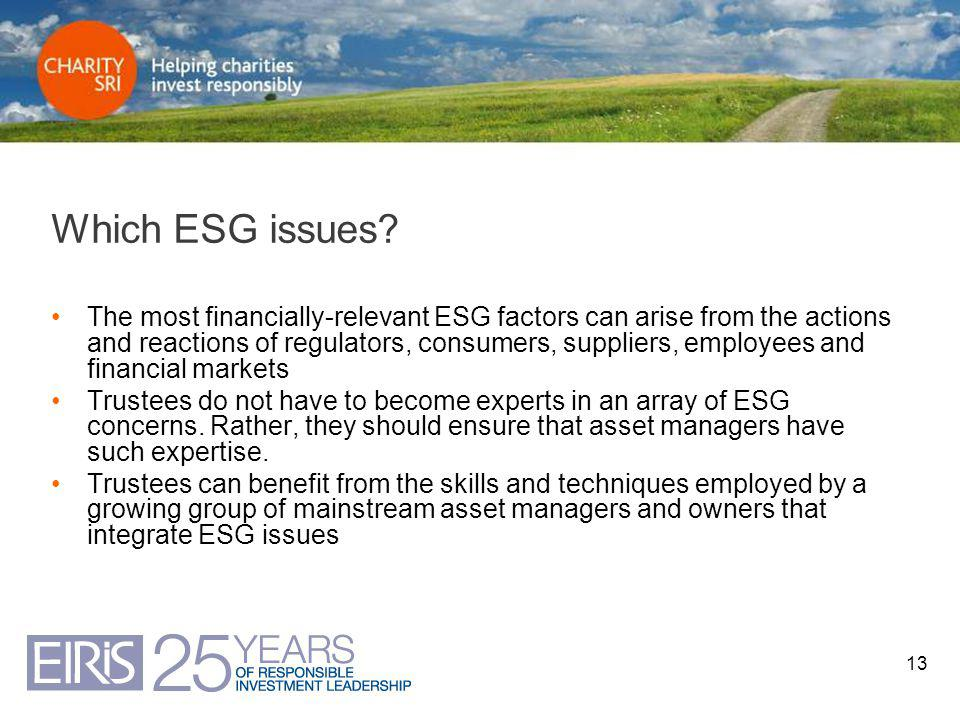 13 Which ESG issues? The most financially-relevant ESG factors can arise from the actions and reactions of regulators, consumers, suppliers, employees