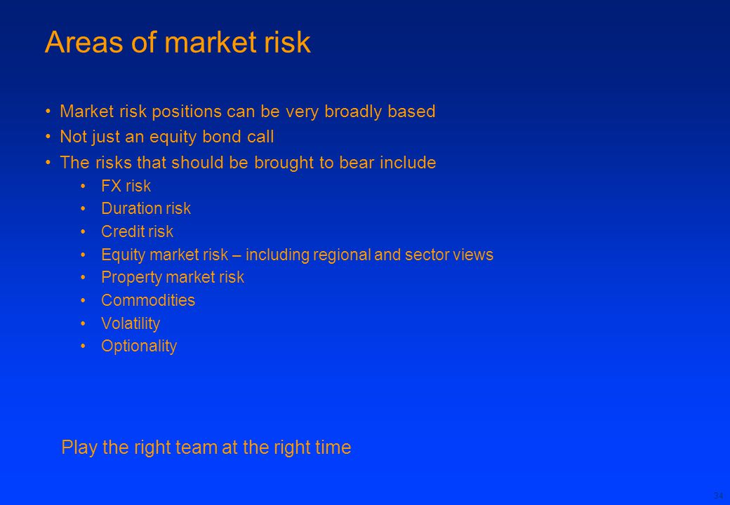 34 Areas of market risk Market risk positions can be very broadly based Not just an equity bond call The risks that should be brought to bear include FX risk Duration risk Credit risk Equity market risk – including regional and sector views Property market risk Commodities Volatility Optionality Play the right team at the right time