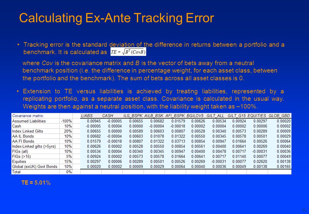 40 Tracking error is the standard deviation of the difference in returns between a portfolio and a benchmark.