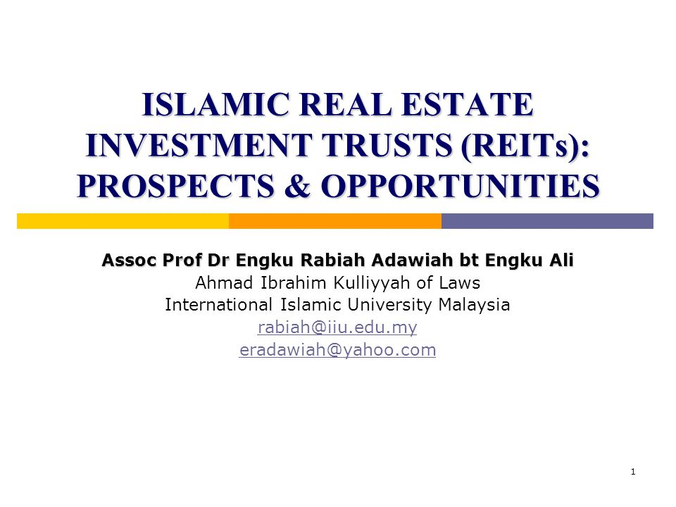 22 Criteria for successful Islamic REITs Quality Islamic REITs:Quality Management:  Quality underlying real estates with sustainable growth prospects  Asset diversification  Long-term investment planning – growth by asset value enhancement & further asset acquisition  Quality underlying real estates with sustainable growth prospects  Asset diversification  Long-term investment planning – growth by asset value enhancement & further asset acquisition  Result-oriented manager  Transparency to investors  Independence of management (outset & ongoing)  Strong management team  Effective Shari`ah governance  Result-oriented manager  Transparency to investors  Independence of management (outset & ongoing)  Strong management team  Effective Shari`ah governance