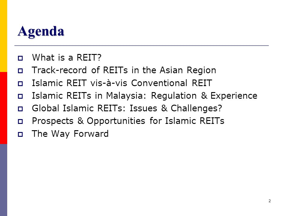 23 The Way Forward…  The Malaysian Islamic REITs regulatory infrastructure – lay a fresh foundation for the growth of an Islamic REITs market in Malaysia  This in turn will hopefully contribute & spur the growth & expansion of Islamic REITs infrastructure & market – regionally & globally  The success of Islamic REITs depends on its ability to create value & deliver its full potentials – lessons can be learnt from other successful REIT markets  What matters most: The quality of the Islamic REITs The quality of the management of the Islamic REITs