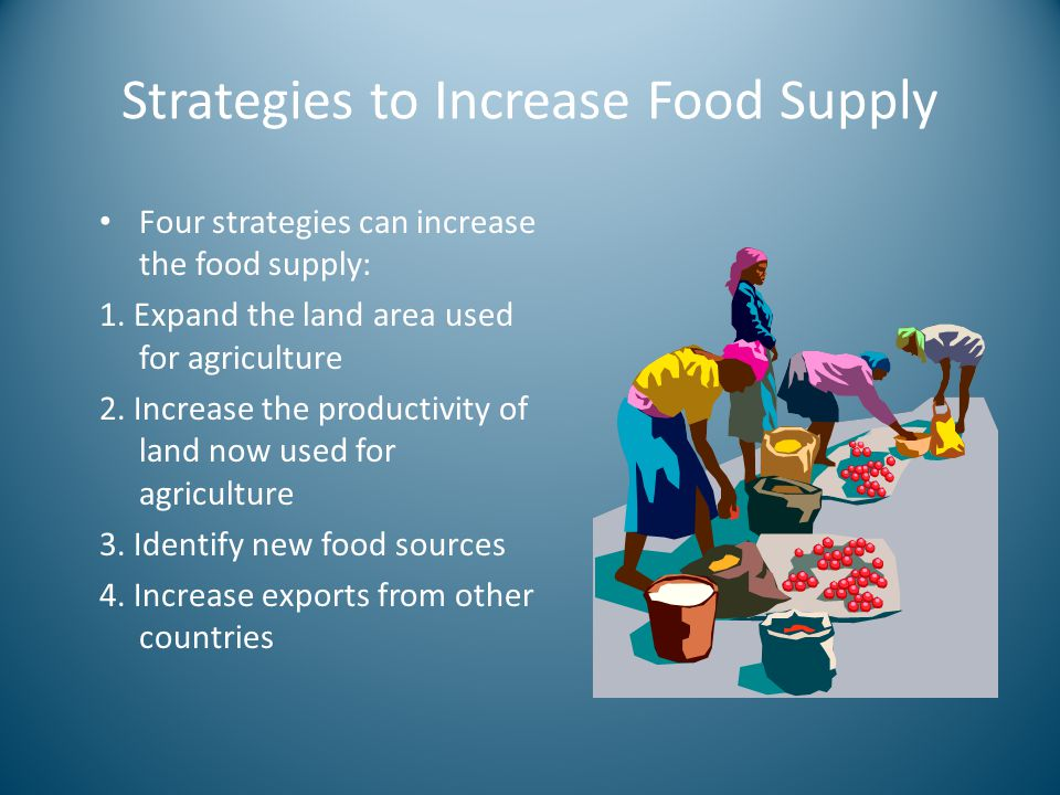 Strategies to Increase Food Supply Four strategies can increase the food supply: 1. Expand the land area used for agriculture 2. Increase the producti