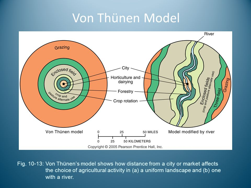 Von Thünen Model Fig. 10-13: Von Thünen's model shows how distance from a city or market affects the choice of agricultural activity in (a) a uniform