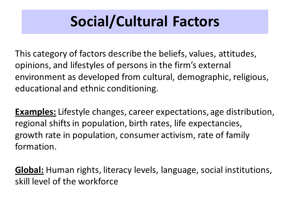 Social/Cultural Factors This category of factors describe the beliefs, values, attitudes, opinions, and lifestyles of persons in the firm's external e