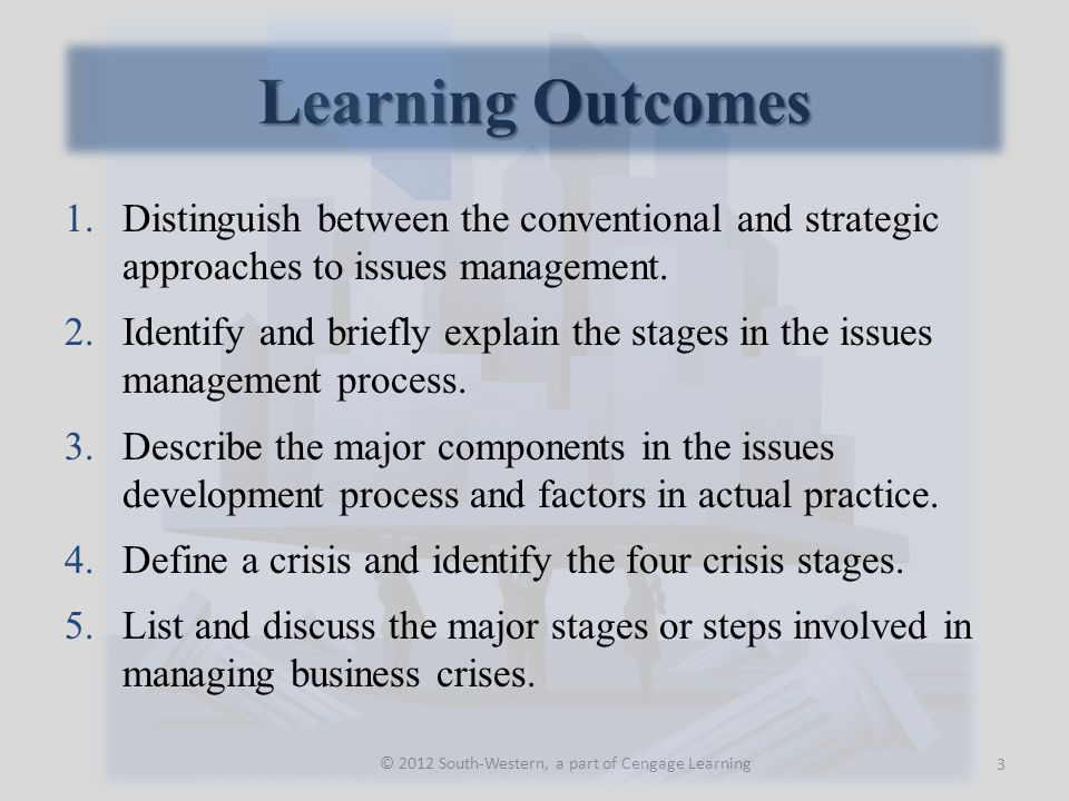 Identification of Issues 14 © 2012 South-Western, a part of Cengage Learning