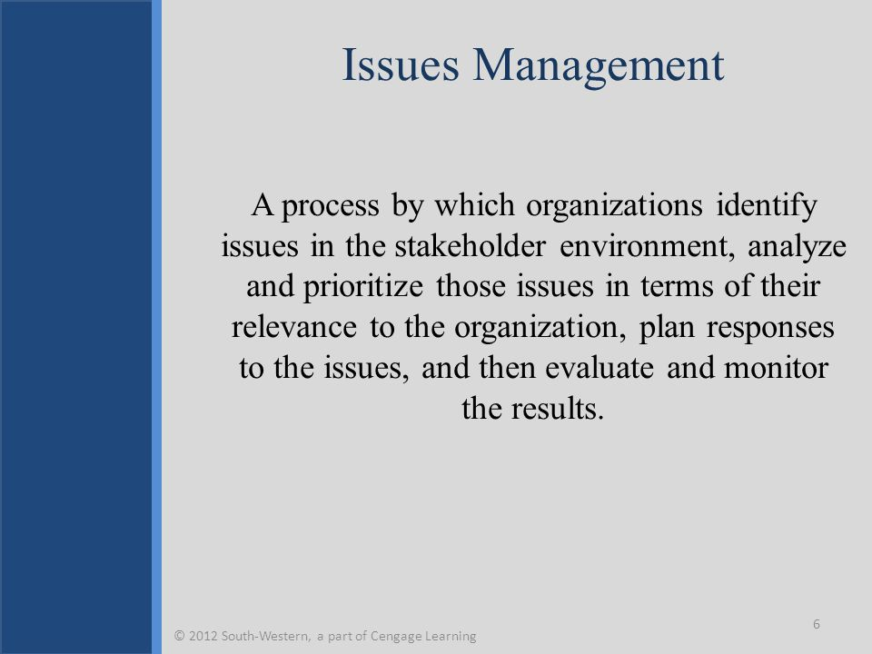 Key Terms Acute crisis stage Chronic crisis stage Conventional approach to issues management Crisis Crisis communications Crisis management Crisis resolution stage Crisis teams Emerging issue Issue Issue selling and buying Issues development process Issues management Portfolio approach Prodromal crisis stage Strategic approach to issues management © 2012 South-Western, a part of Cengage Learning 37