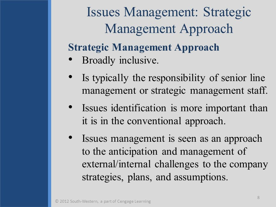 Strategic Issue Management 9 © 2012 South-Western, a part of Cengage Learning