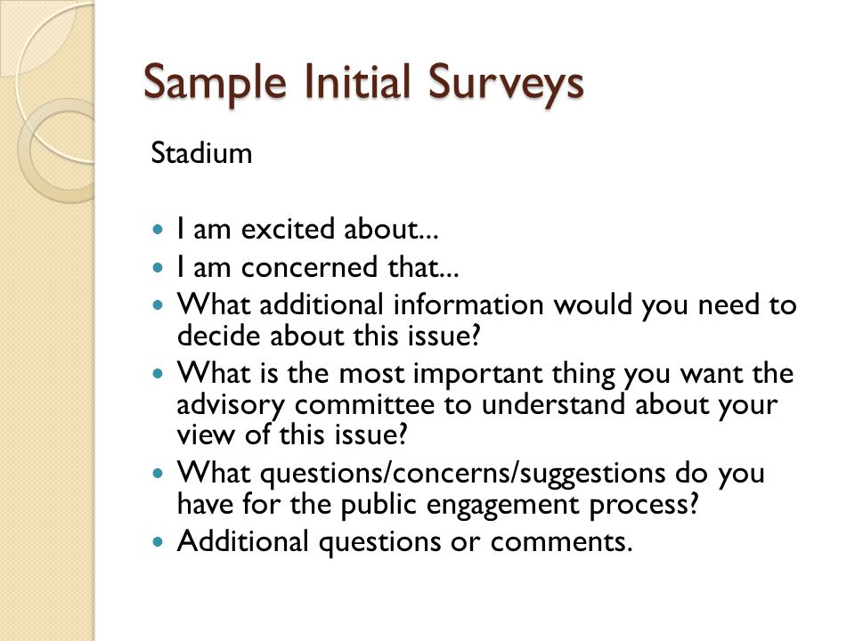 Sample Initial Surveys Stadium I am excited about...