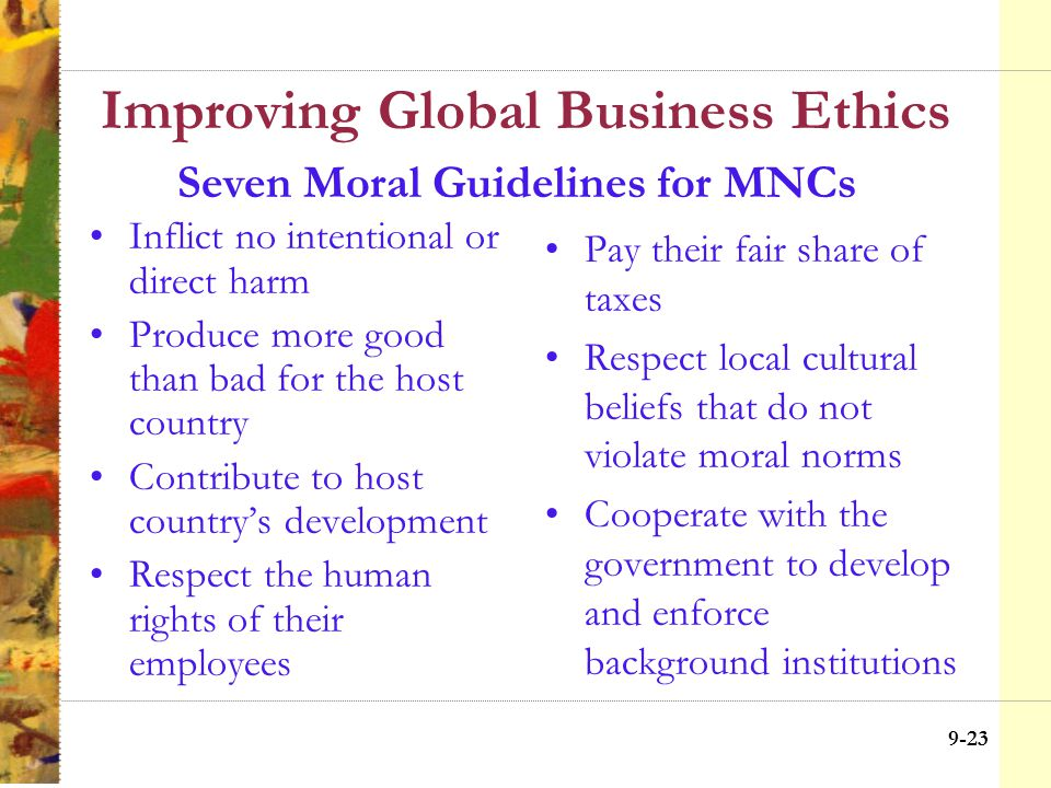 9-22 Improving Global Business Ethics 1.The right to physical movement 2.The right to ownership of property 3.The right to freedom from torture 4.The right to a fair trial 5.The right to nondiscriminatory treatment 6.The right to physical security 7.The right to freedom of speech and association 8.The right to minimal education 9.The right to political participation 10.The right to subsistence Fundamental International Rights