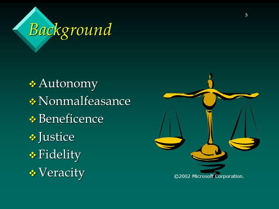 3 Background  Autonomy  Nonmalfeasance  Beneficence  Justice  Fidelity  Veracity ©2002 Microsoft Corporation.