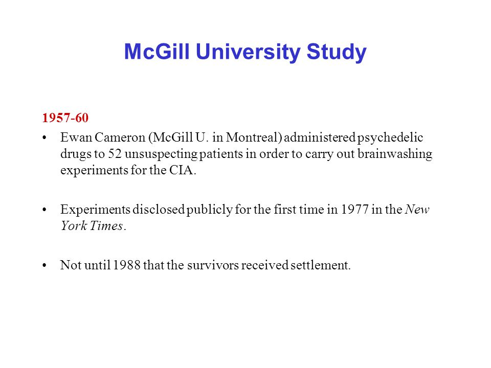 McGill University Study Ewan Cameron (McGill U.