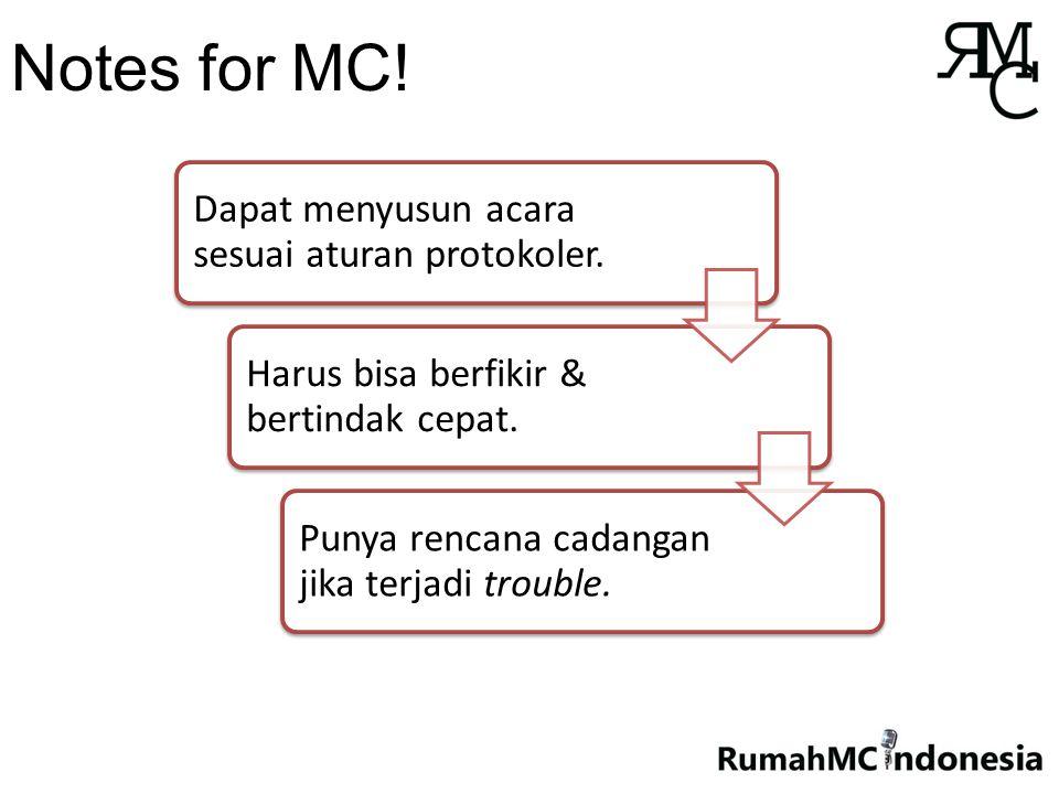 Notes for MC. Dapat menyusun acara sesuai aturan protokoler.