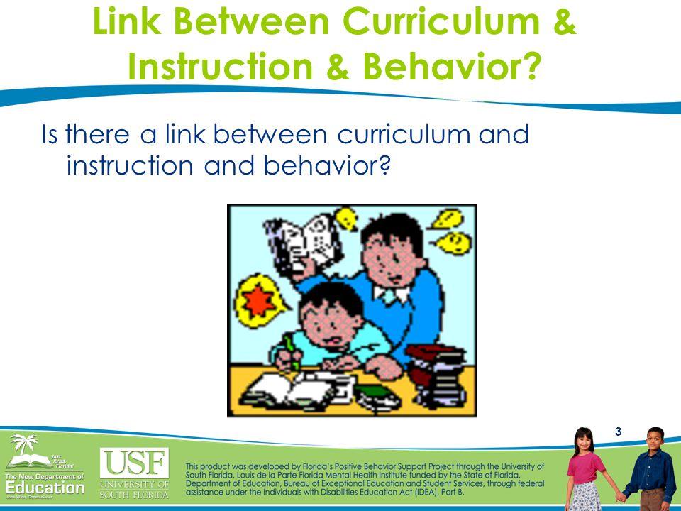 3 Link Between Curriculum & Instruction & Behavior? Is there a link between curriculum and instruction and behavior?