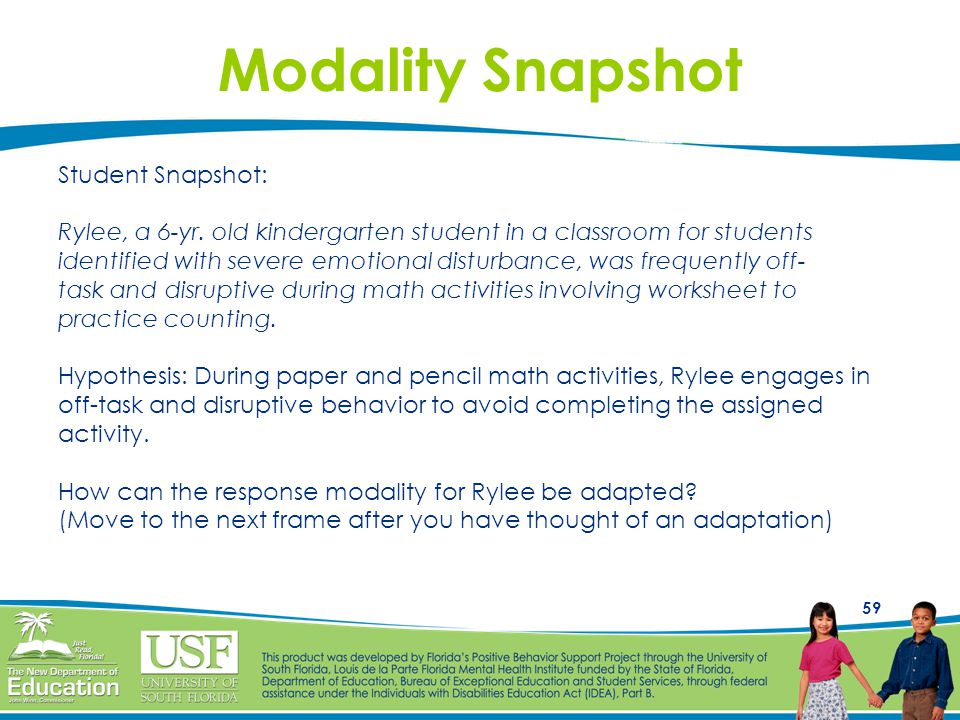59 Modality Snapshot Student Snapshot: Rylee, a 6-yr. old kindergarten student in a classroom for students identified with severe emotional disturbanc