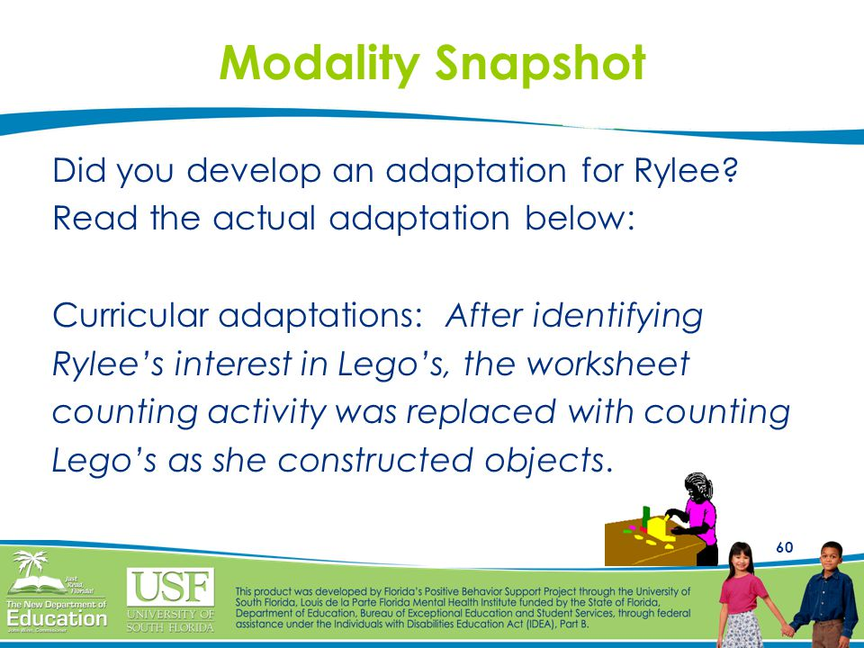 60 Modality Snapshot Did you develop an adaptation for Rylee? Read the actual adaptation below: Curricular adaptations: After identifying Rylee's inte