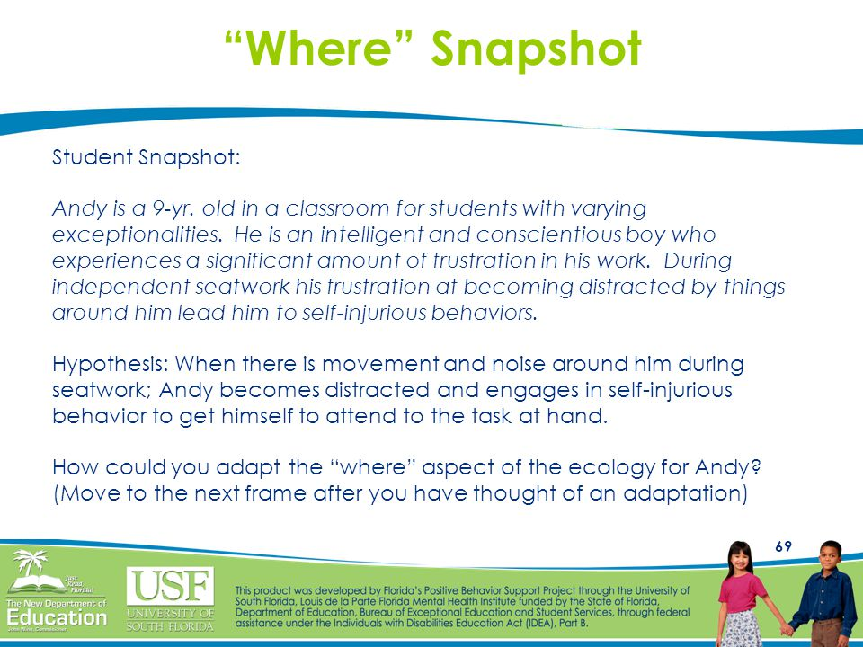 """69 """"Where"""" Snapshot Student Snapshot: Andy is a 9-yr. old in a classroom for students with varying exceptionalities. He is an intelligent and conscien"""