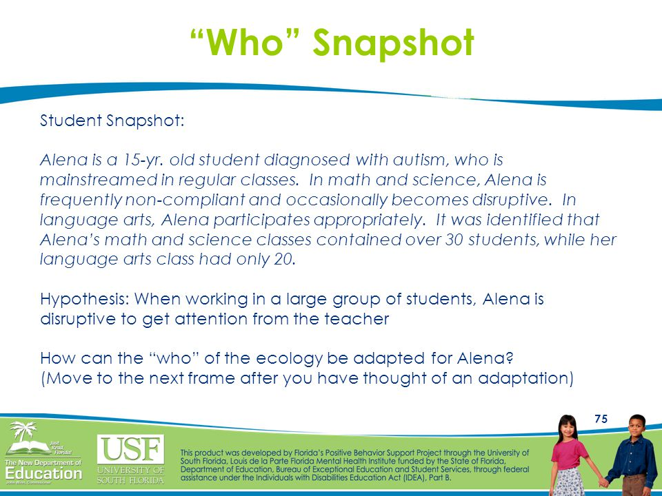 """75 """"Who"""" Snapshot Student Snapshot: Alena is a 15-yr. old student diagnosed with autism, who is mainstreamed in regular classes. In math and science,"""