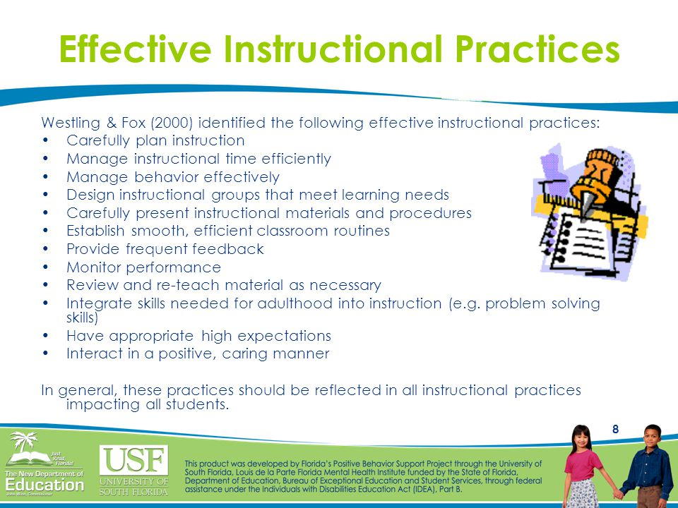 8 Effective Instructional Practices Westling & Fox (2000) identified the following effective instructional practices: Carefully plan instruction Manag