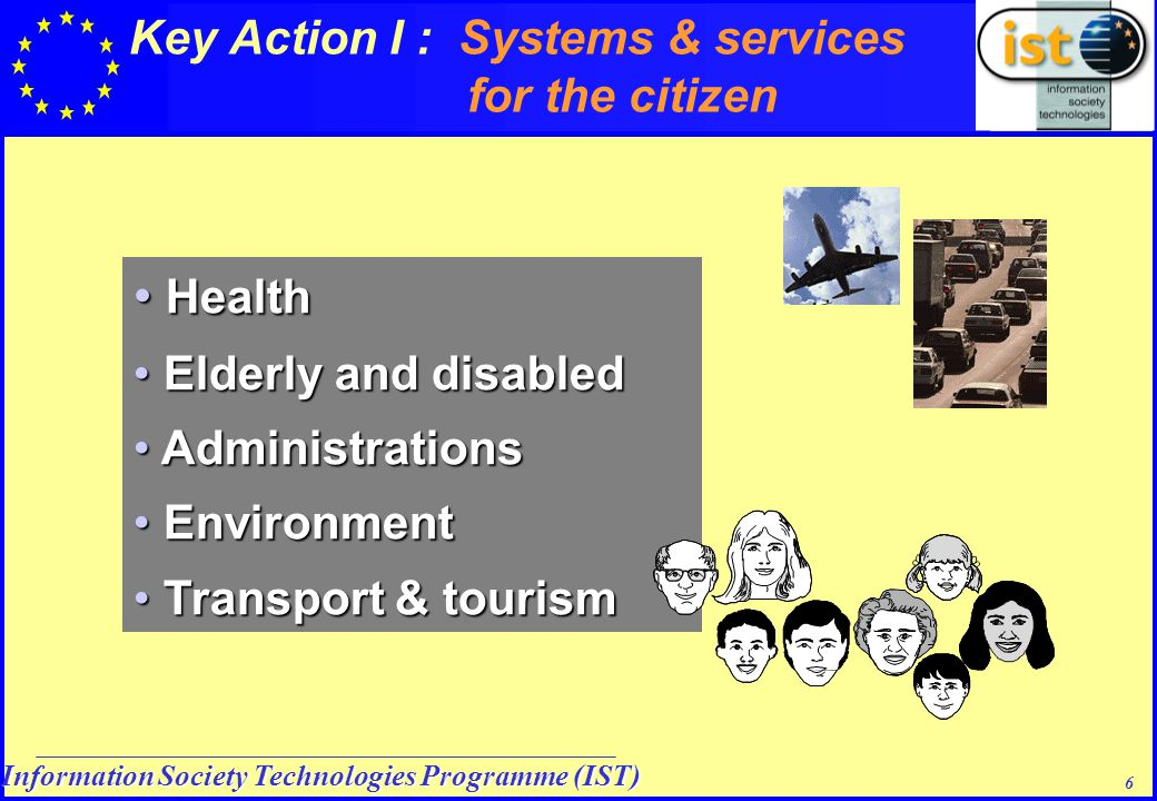 Information Society Technologies Programme (IST) 6 Health Health Elderly and disabled Elderly and disabled Administrations Administrations Environment Environment Transport & tourism Transport & tourism Key Action I : Systems & services for the citizen