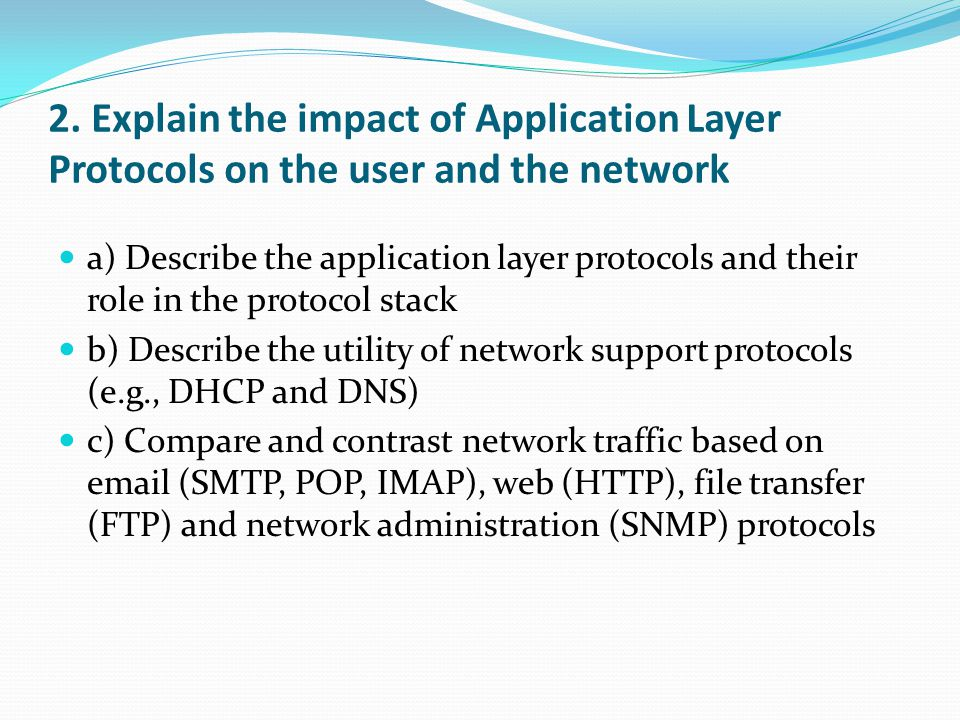 2. Explain the impact of Application Layer Protocols on the user and the network a) Describe the application layer protocols and their role in the pro