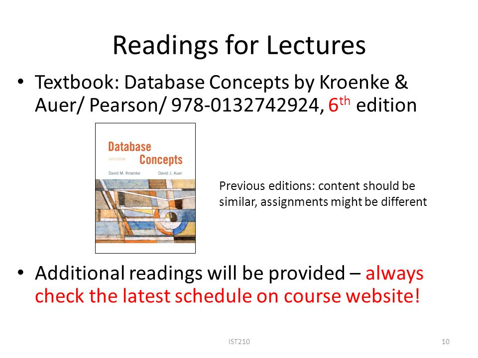 Readings for Lectures Textbook: Database Concepts by Kroenke & Auer/ Pearson/ 978-0132742924, 6 th edition Additional readings will be provided – alwa