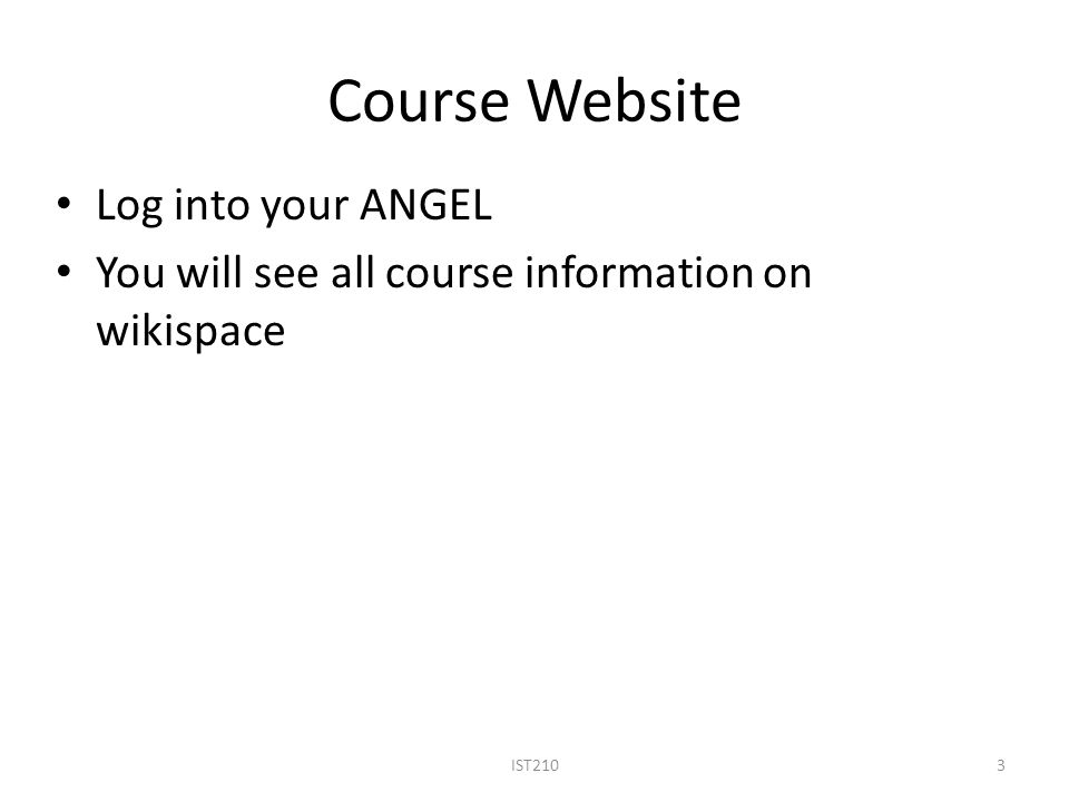 Course Website IST2103 Log into your ANGEL You will see all course information on wikispace
