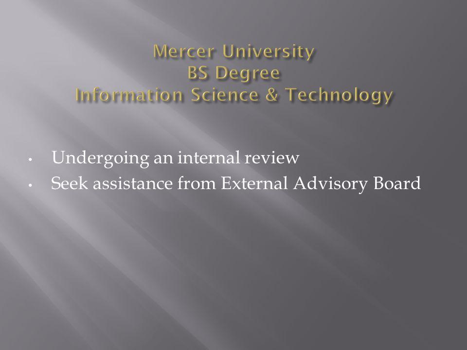 Undergoing an internal review Seek assistance from External Advisory Board