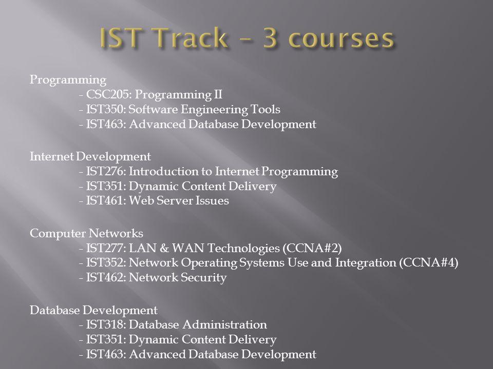 Programming - CSC205: Programming II - IST350: Software Engineering Tools - IST463: Advanced Database Development Internet Development - IST276: Intro