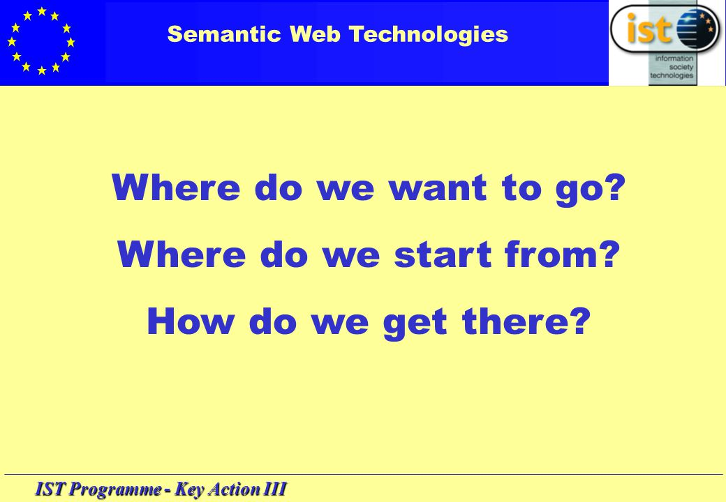 IST Programme - Key Action III Semantic Web Technologies Goals … enabling better access to Web-based content, its retrieval, filtering and handling, pertinent to users' needs and interests, living up to their quality expectations...