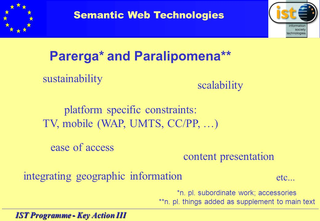 IST Programme - Key Action III Semantic Web technologies Workshop 'Semantic Web technologies' making contact clarifying issues putting forward project ideas … and getting ideas giving input to future IST 'programming' A reminder: short contributions must be short (5-15 min)