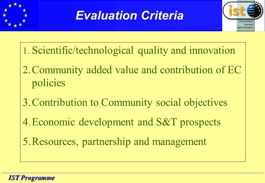 IST Programme Evaluation Criteria 1.