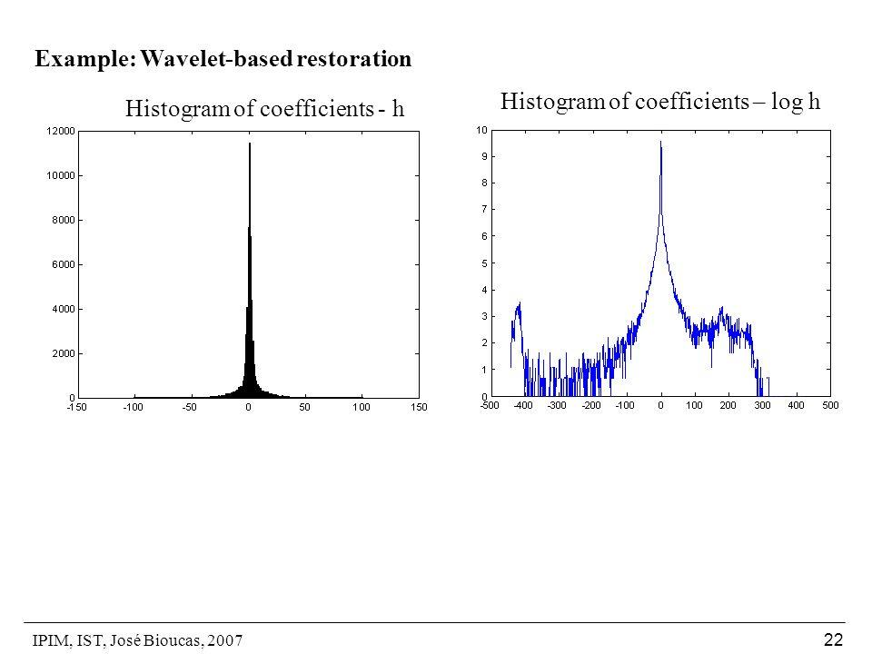 IPIM, IST, José Bioucas, 2007 22 Example: Wavelet-based restoration Histogram of coefficients - h Histogram of coefficients – log h