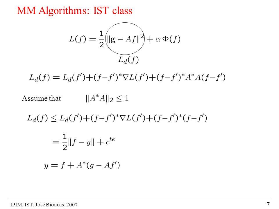 IPIM, IST, José Bioucas, 2007 8 MM Algorithms: IST class Majorizer: Let: IST Algorithm