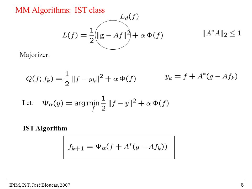 IPIM, IST, José Bioucas, 2007 19 Soft thresholding: p=1