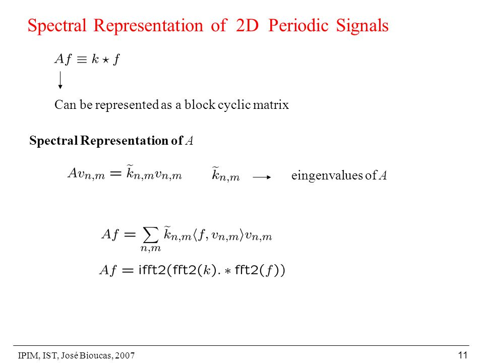 IPIM, IST, José Bioucas, Spectral Representation of 2D Periodic Signals Can be represented as a block cyclic matrix Spectral Representation of A eingenvalues of A