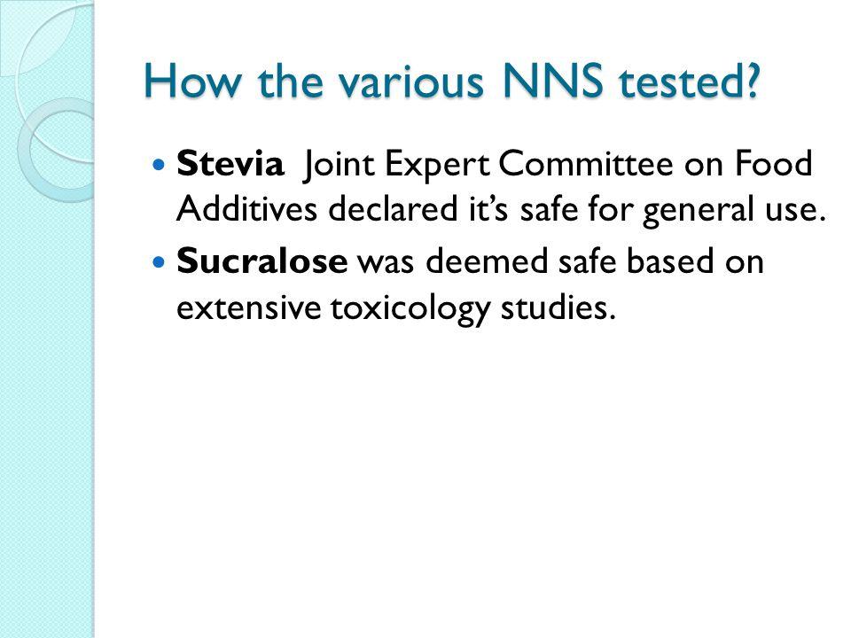 How the various NNS tested.