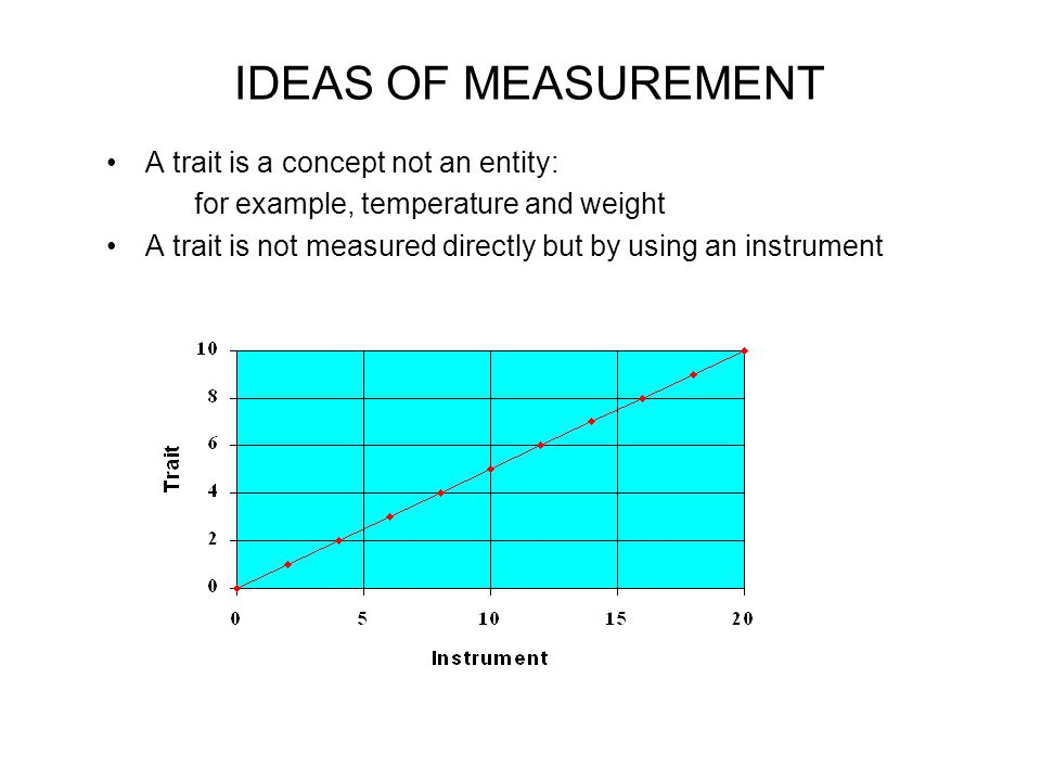 IDEAS OF MEASUREMENT A trait is a concept not an entity: for example, temperature and weight A trait is not measured directly but by using an instrument