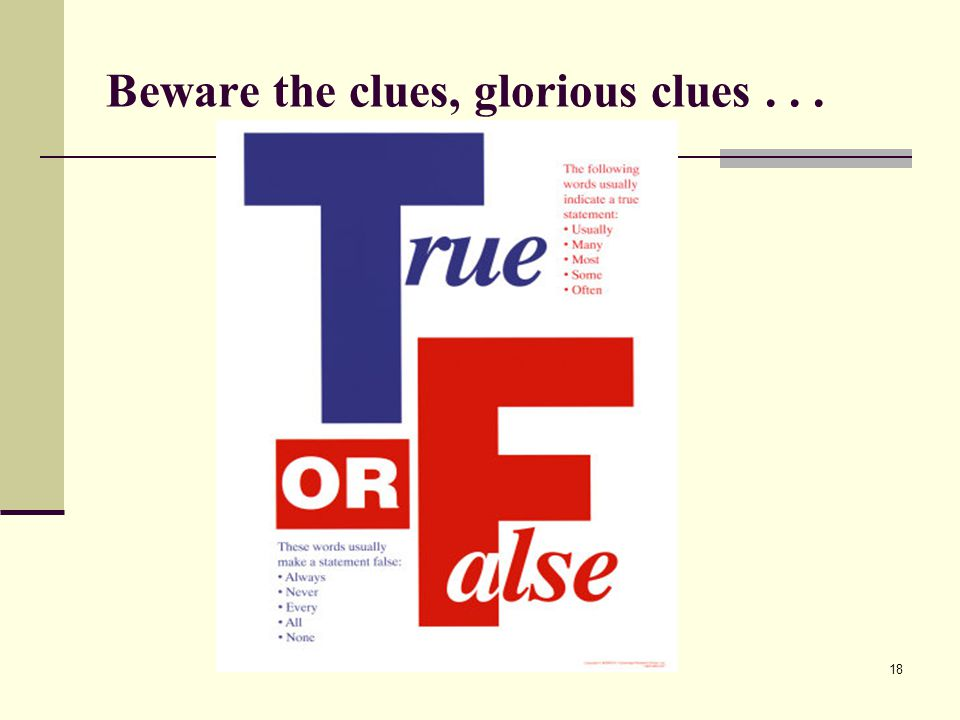 Beware the clues, glorious clues... 18