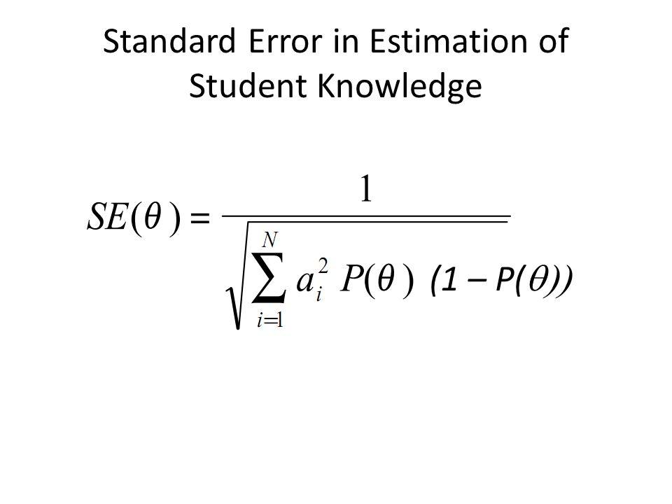 Standard Error in Estimation of Student Knowledge (1 – P( 