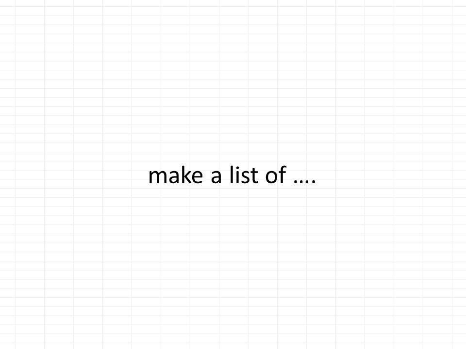 make a list of ….