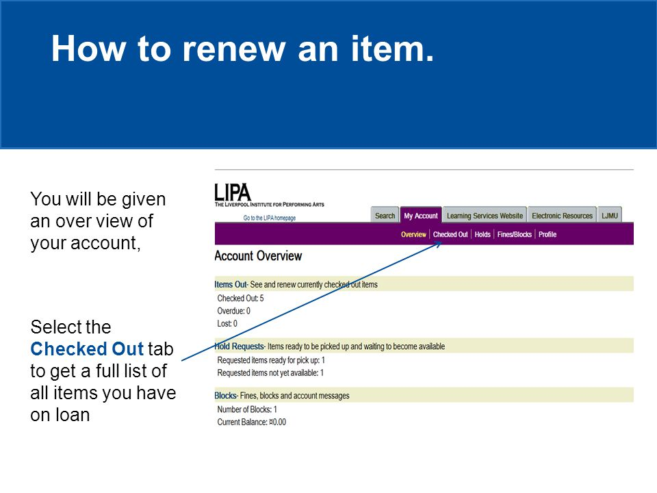 How to renew an item.