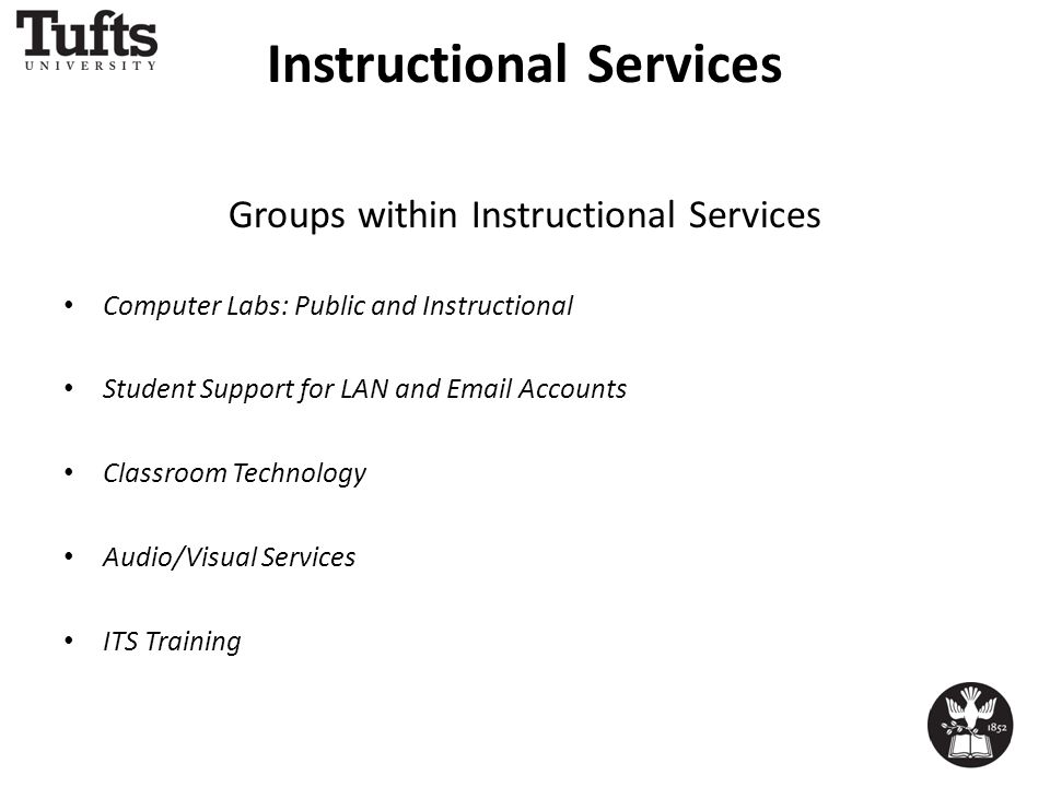 Instructional Services Groups within Instructional Services Computer Labs: Public and Instructional Student Support for LAN and Email Accounts Classroom Technology Audio/Visual Services ITS Training