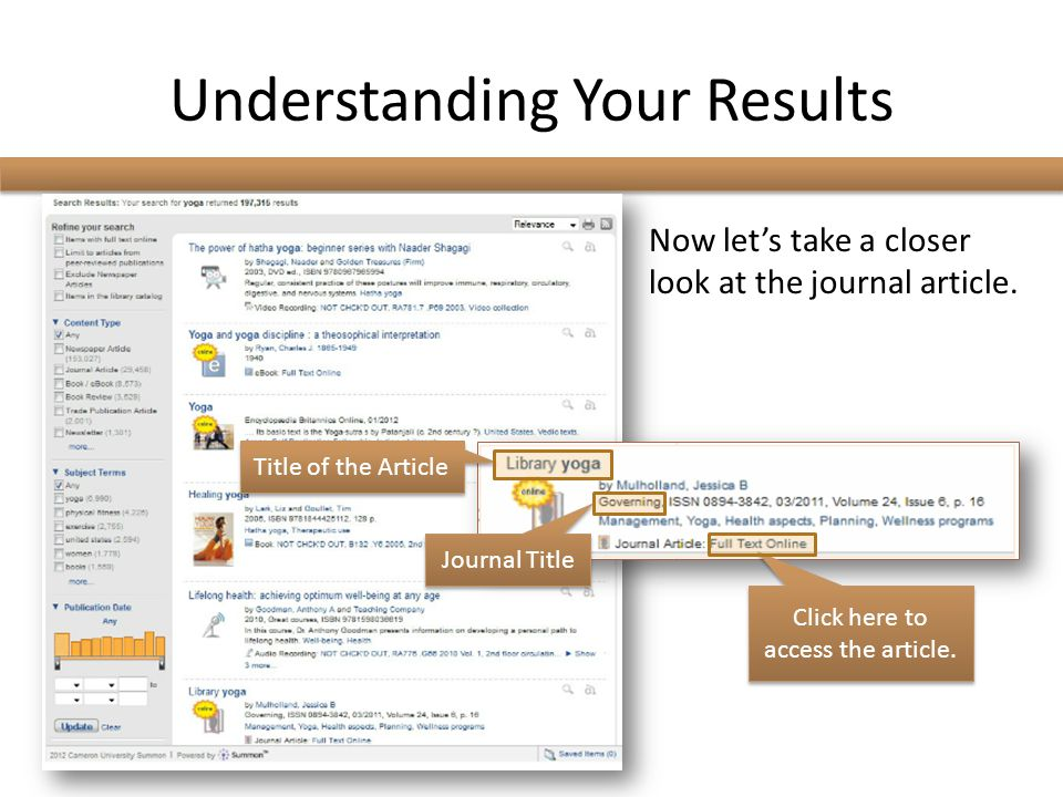 Understanding Your Results Now let's take a closer look at the journal article.