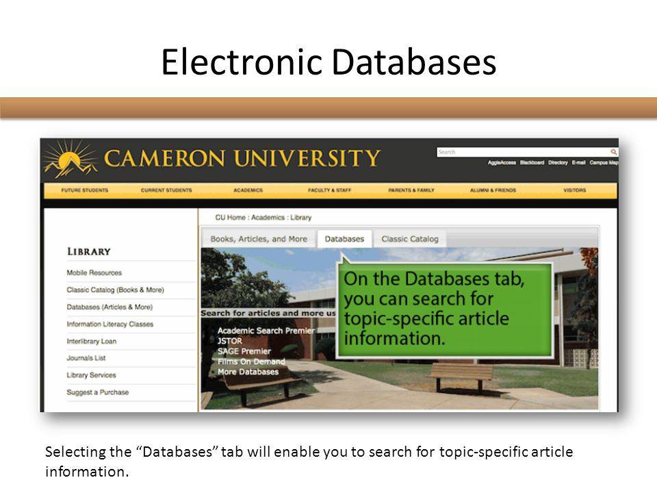 Electronic Databases Selecting the Databases tab will enable you to search for topic-specific article information.
