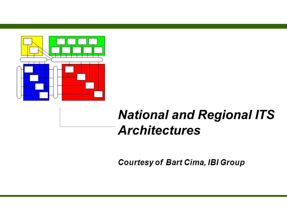 National and Regional ITS Architectures Courtesy of Bart Cima, IBI Group