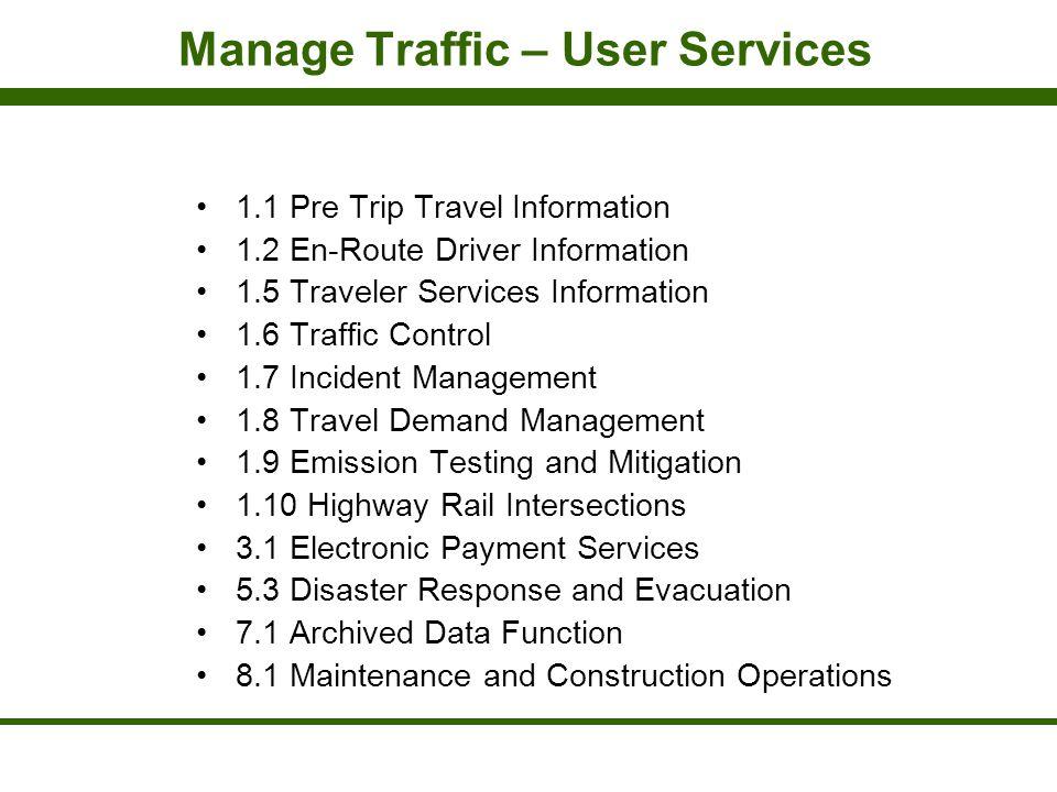 Manage Traffic – User Services 1.1 Pre Trip Travel Information 1.2 En-Route Driver Information 1.5 Traveler Services Information 1.6 Traffic Control 1