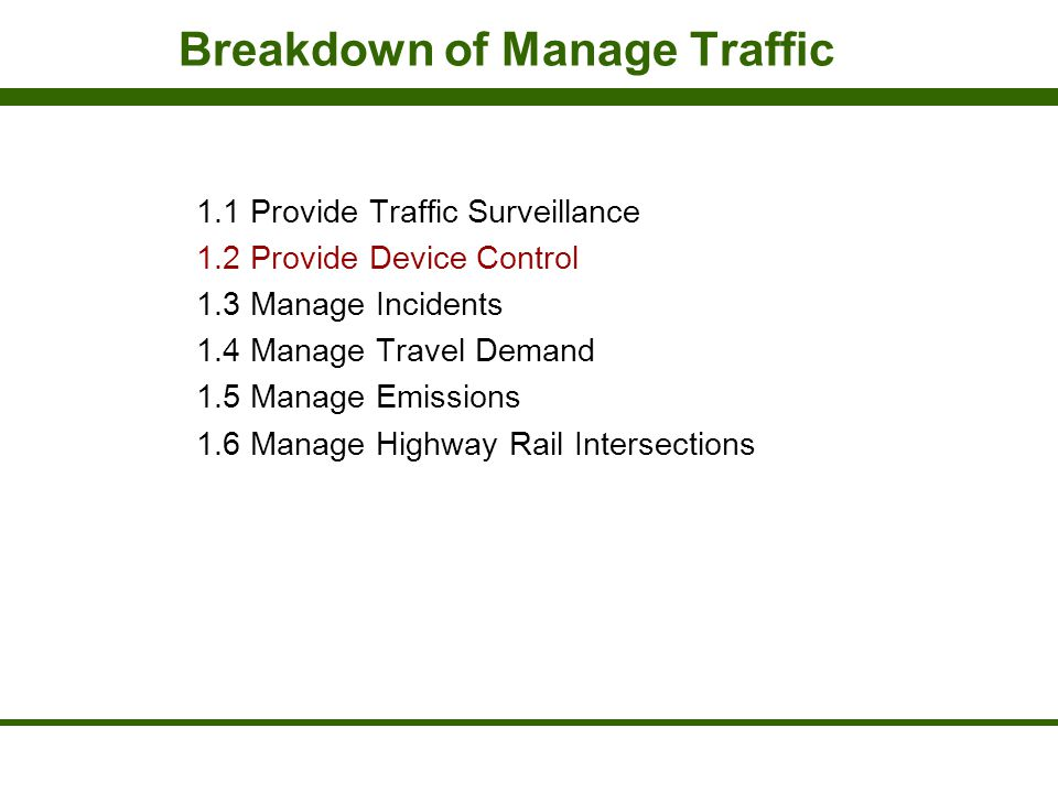 Breakdown of Manage Traffic 1.1 Provide Traffic Surveillance 1.2 Provide Device Control 1.3 Manage Incidents 1.4 Manage Travel Demand 1.5 Manage Emiss