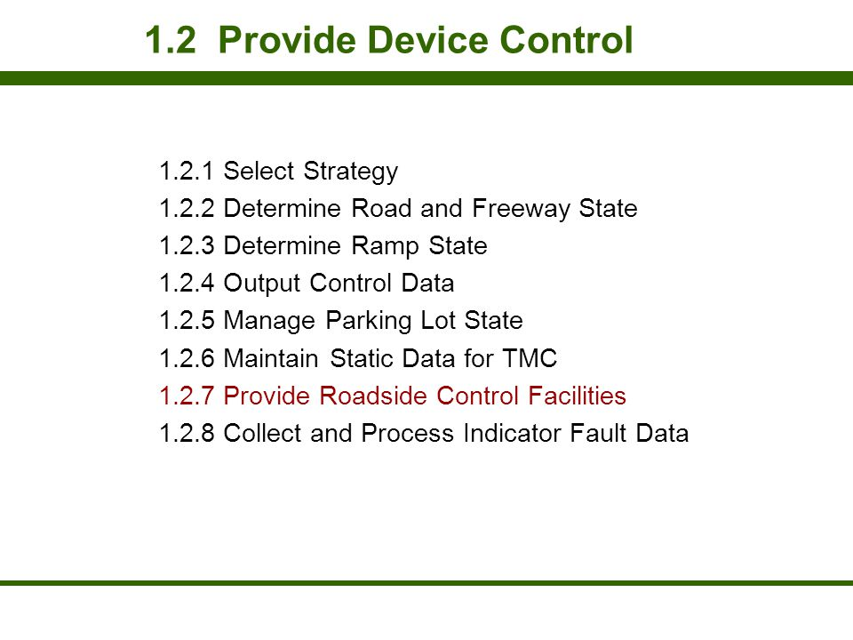 1.2 Provide Device Control 1.2.1 Select Strategy 1.2.2 Determine Road and Freeway State 1.2.3 Determine Ramp State 1.2.4 Output Control Data 1.2.5 Man