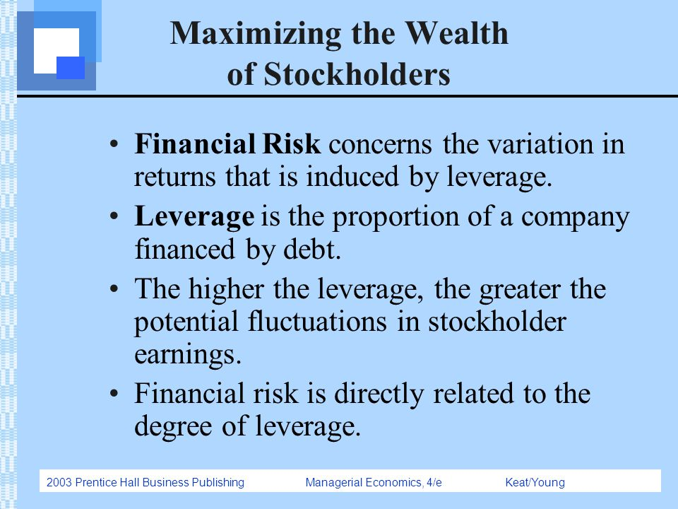 2003 Prentice Hall Business Publishing Managerial Economics, 4/e Keat/Young Maximizing the Wealth of Stockholders Financial Risk concerns the variatio